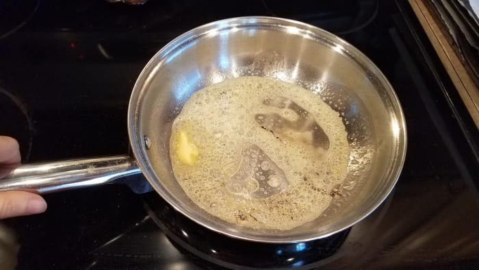 Melt your butter in a saute pan.