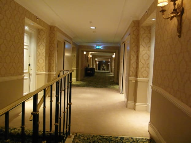 The hotel corridor.