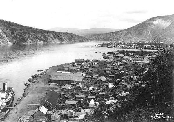 Yukon River with Klondike City (foreground) and Dawson City (upper right), 1899