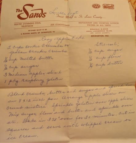 This is the motel stationery upon which the recipe was written.
