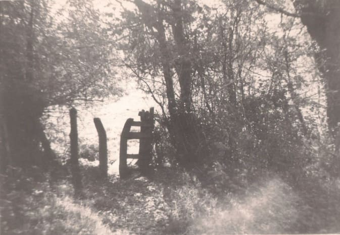 Favourite Walk in the Weald, a stile leading to the fields and woods near the village (taken in the 60s with a Box Brownie!)