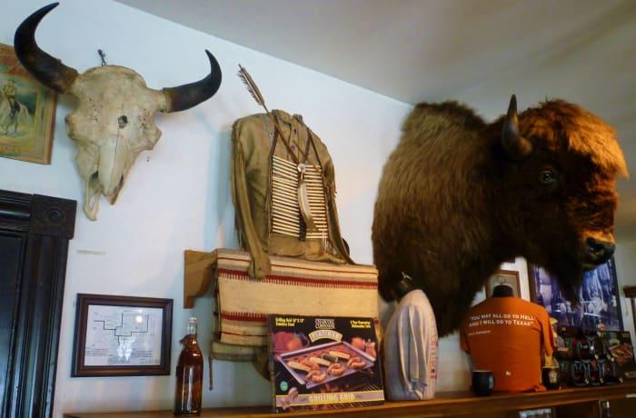 Skulls, buffalo head, Indian costume and more...
