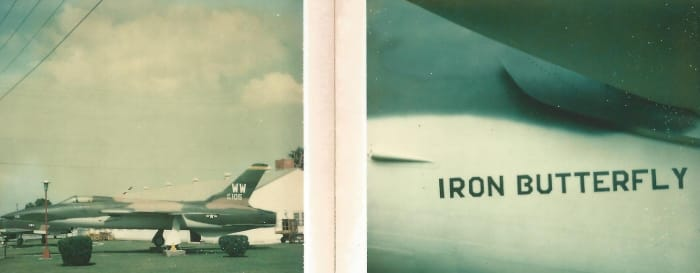 """The F-105 """"Iron Butterfly"""" at the Lackland AFB, Museum, 1977."""