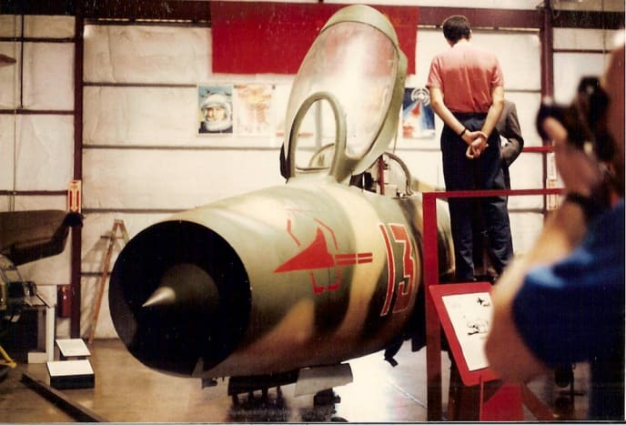 A MiG-21 at the Paul E. Garber Facility, circa 1990.