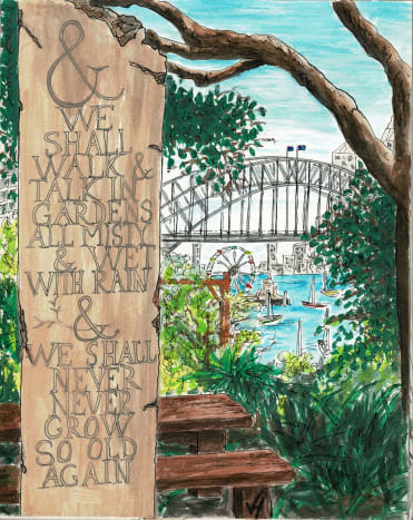My watercolour of Van Morrison's words engraved on a piece of stone as you enter Wendy Whiteley's Secret Garden in Lavender Bay.