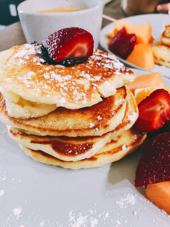 Nothing beats a tower of pancakes in the morning.