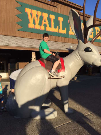 Our son Ben on the Jackalope at Wall Drug.