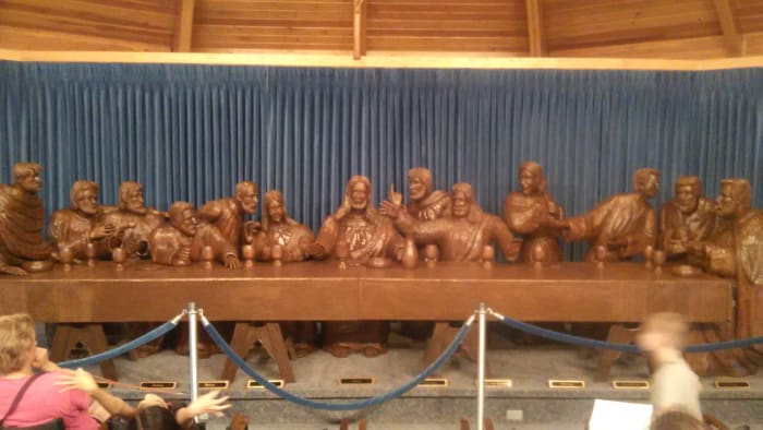 Hand-Carved Last Supper at Trinity Heights Shrine in Sioux City