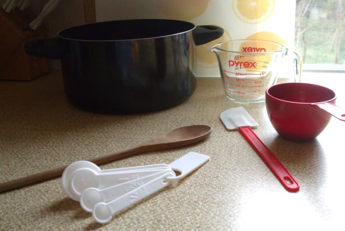 A 3 to 5-quart saucepan, measuring cups and spoons, and spatulas are all you need for the fudge prep.