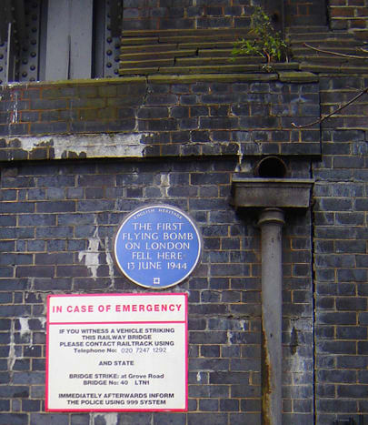 Marker on the site of the first V-1 strike on London.