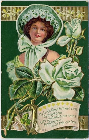 Vintage greeting cards: Woman dressed in green with bonnet for St.Patrick's Day