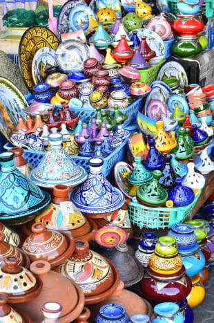 An assortment of tagines, large and small, at a market in Marrakech