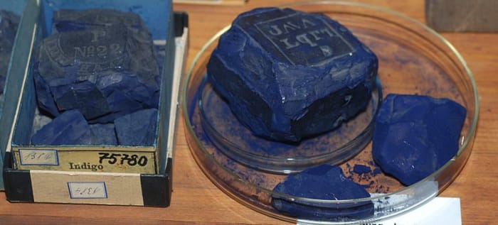 Historical indigo dye collection of the Technical University of Dresden, Germany.