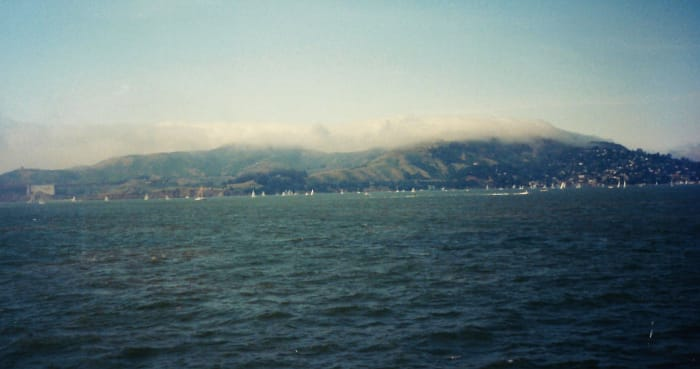 Sausalito viewed from a distance aboard the ferry.