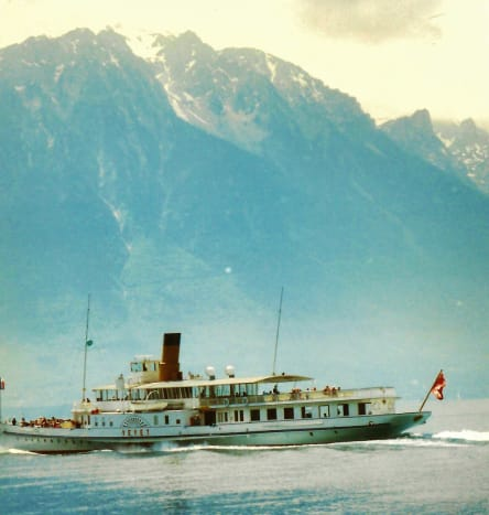 Example of boats seen on Lake Geneva from Montreux.