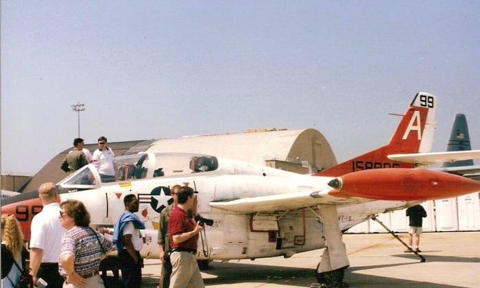 A T-2 Buckeye on static display during an airshow.
