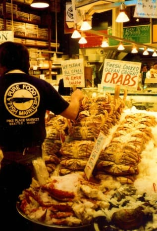 All kinds of offerings from the sea at Pike Place Market