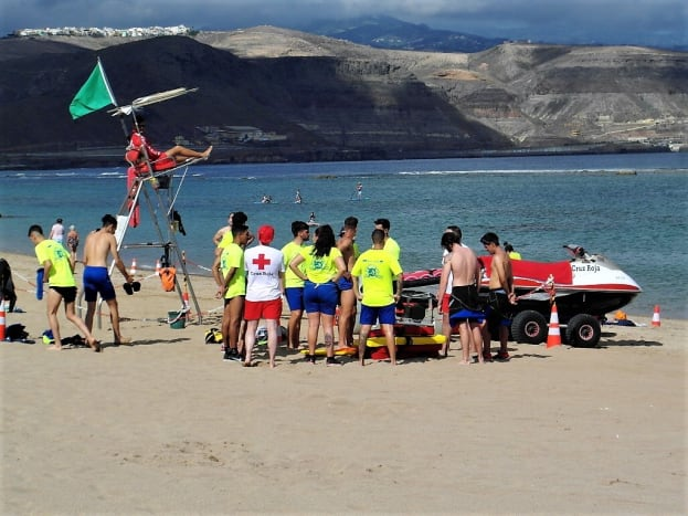 Lifeguard training on Playa de las Canteras.