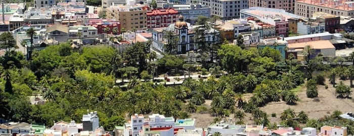 View of Municipal Park and Heredad de Aguas from Montana de Arucas.