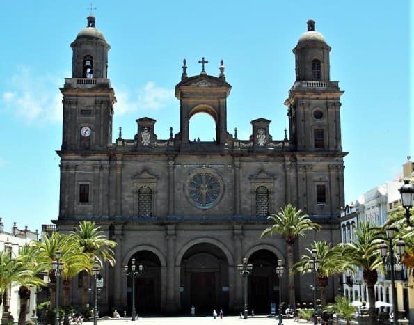 19th Century Neo-Classical facade of Catedral de Santa Ana, Las Palmas.