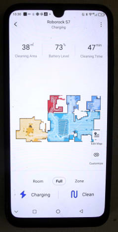 Roborock application displaying a map of the floor