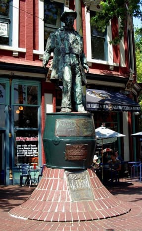 """Statue of """"Gassy Jack"""" in Vancouver, British Columbia, Canada."""