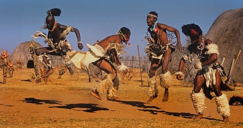 Zulu Dancers performing for the camera and tourists.