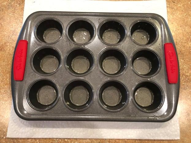 Step 1: Grease mini muffin pan.