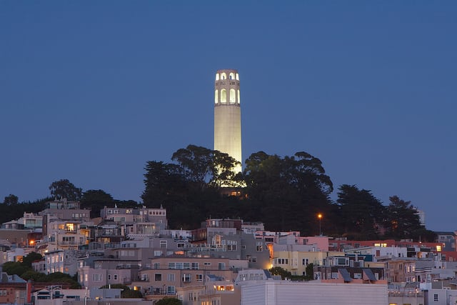 Telegraph hill with Coit Tower, at dusk from the Embarcadero