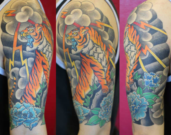 Colorful tiger tattoo.