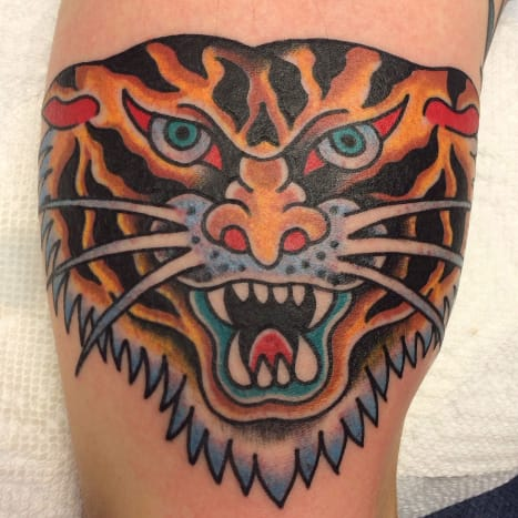 Tiger head by Steve Byrne. Done during a guest spot at Temple Tattoo, Oakland CA, October 28, 2013.