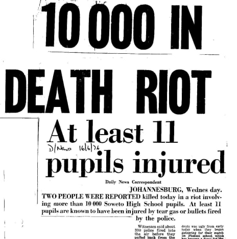 "Headline in the afternoon newspaper ""The Daily News"" on 16 June 1976."
