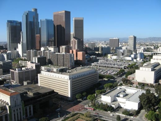 Bunker Hill in downtown Los Angeles as seen from Los Angeles City Hall.