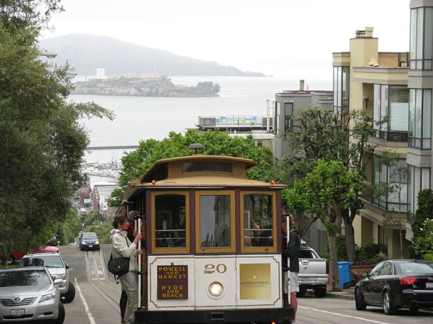 San Francisco cable car with Alcatraz Island in background