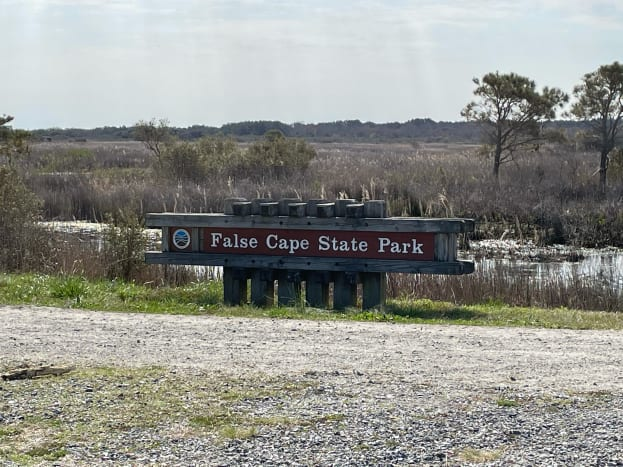 The entry point to False Cape is marked by  this sign. There is one at the end point of the east dike and west dike trails from Back Bay National Wildlife Refuge.