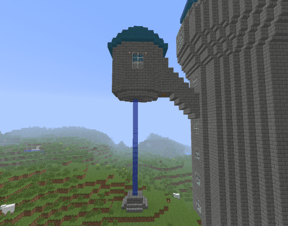 You can make a simple and gorgeous waterfall with a tower and a hole in the floor.