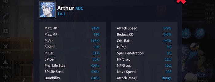 Arthur's Basic Stats at LVL 1.