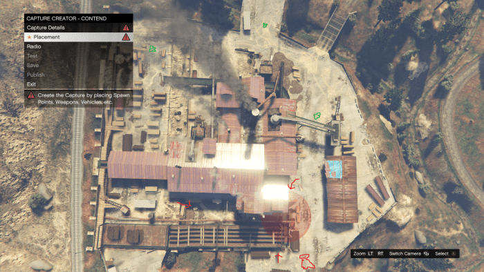 Red arrows represent enemy approaches, red orb is the location of your position, green clovers are Body Armor locations, Red dinosaur is where enemy vehicles come from (while playing Solo).