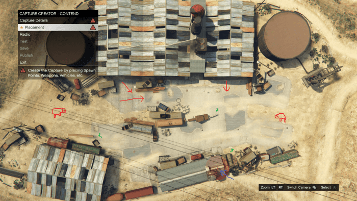 Red arrows represent enemy approaches, blue arrows and red orb is the location of your position, green squiggly lines/snakes are Body Armor locations, Red sheep is where enemy vehicles come from (while playing Solo).