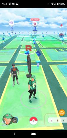 An invaded Pokéstop with another one nearby.