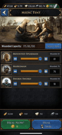 Check the resource cost at the bottom of the screen to heal soldiers before equipping Whent gear and the Thorned Lariat trinket.