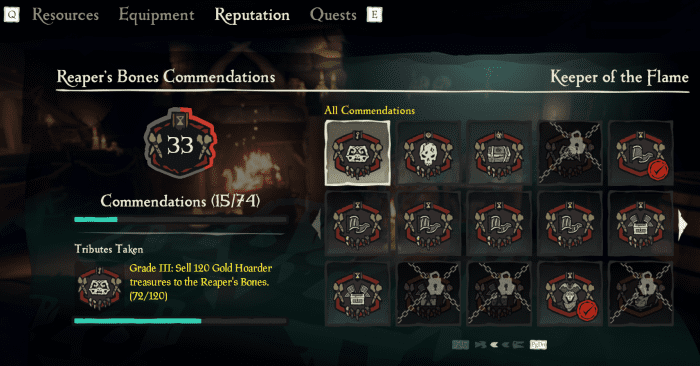 Accessible via the in-game menu, you can view everything about your Trading Company. This includes your progress against Commendations.
