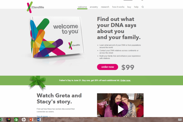 23andMe now offers a watered-down ancestry version of their service.  Do you really want to divulge your genetic information to find out what percent Neanderthal you are or who your fifth and sixth cousins might be?