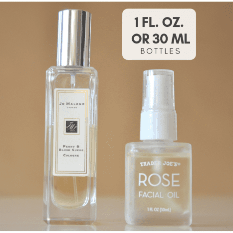 Both bottles are 30 mL or 1 FL. OZ. but different shapes.