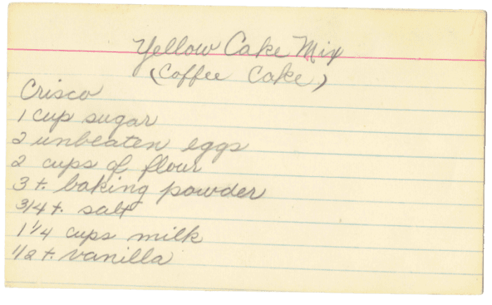 I love how aged this index card is. It's almost as yellow as the coffee cake.
