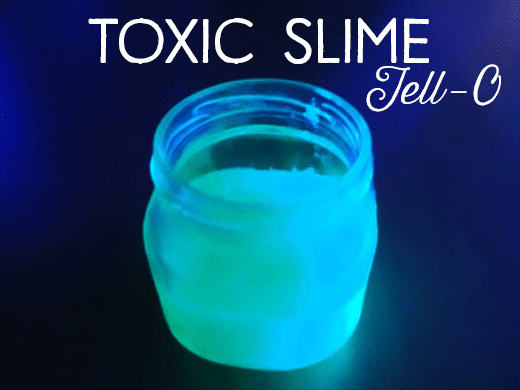 Although the picture has more of a blue tint, the Jell-O glows a bright green color under the black light.