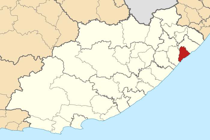Port St Johns highlighted in red.