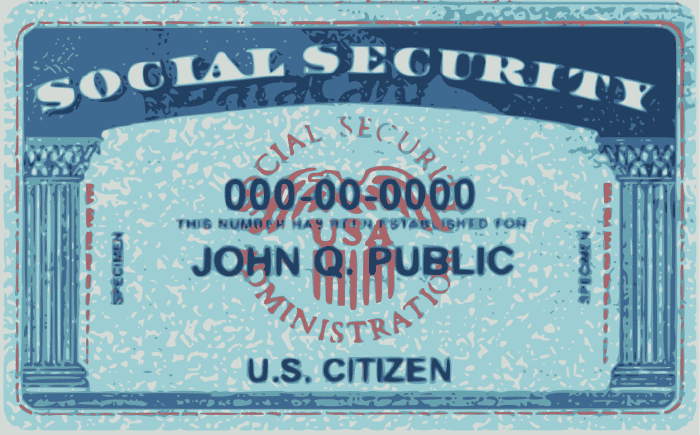 This is a graphic of what a Social Security card looks like. This is not an actual SSN card.