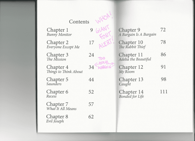 Always get a printed proof and check carefully! Here, the TOC came out with unexpectedly large font, and uncentered.