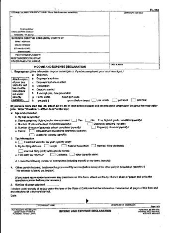 This is the income and expense declaration. You will fill this out several times over the course of your divorce.